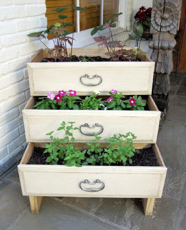 Diy Backyard Ideas backyardideas Dresser Drawer Garden