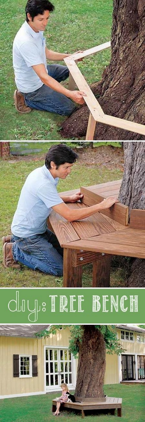 beautify your backyard with this diy tree bench