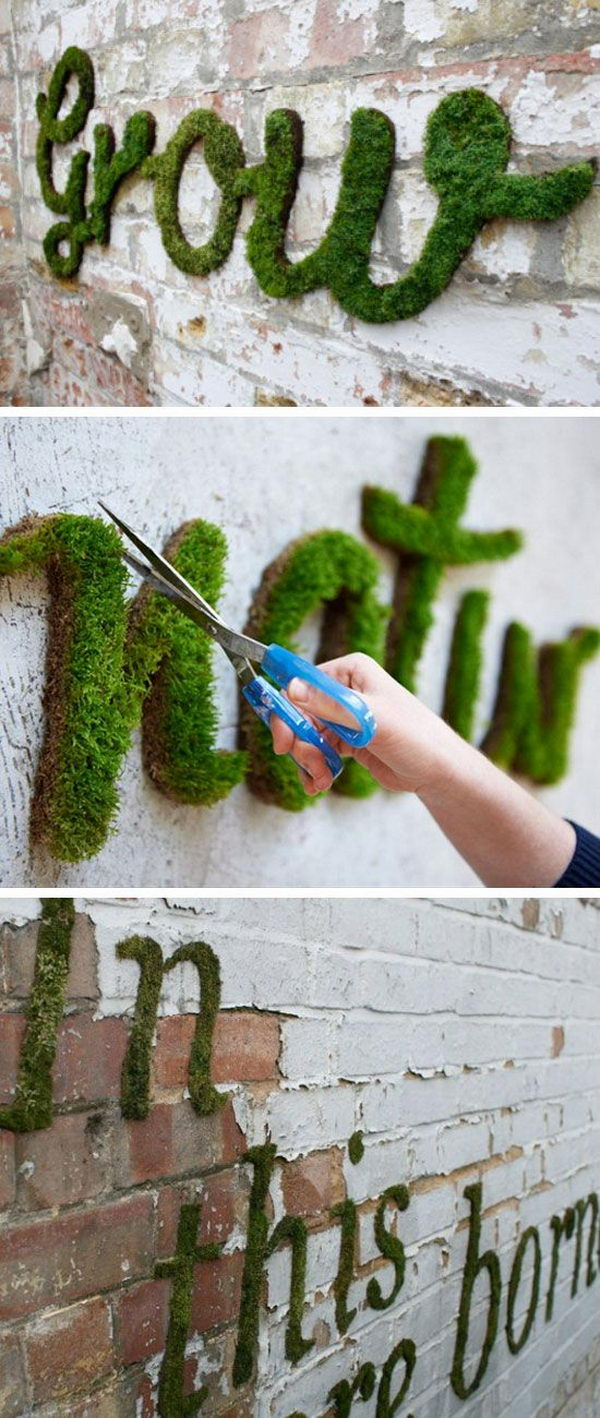 DIY Moss Graffiti.