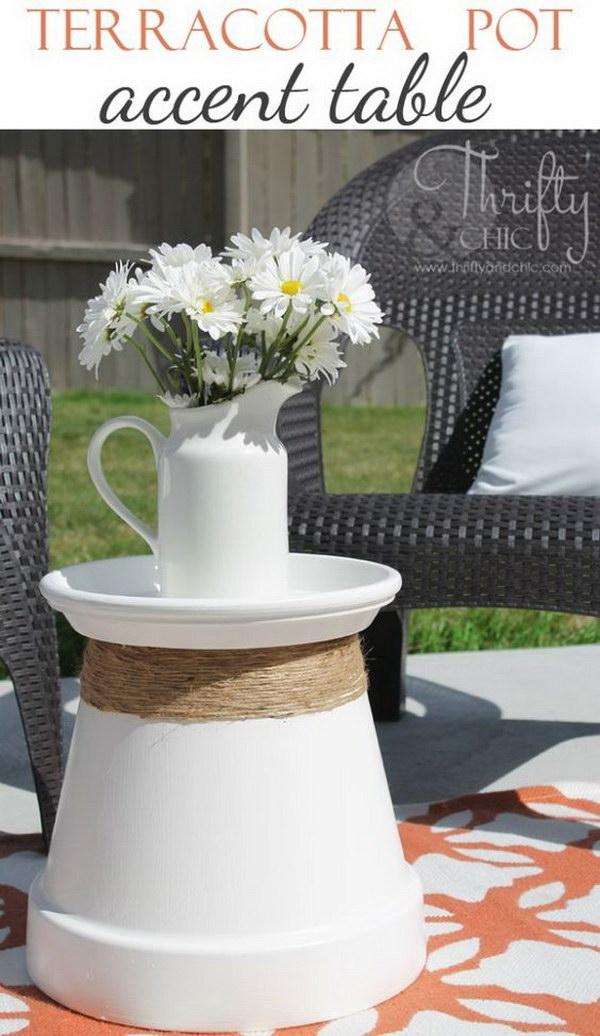 Repurposed Teracotta Pot Into Accent Table.