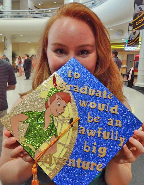 Disney peter pan graduation cap.