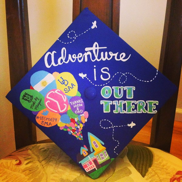 Adventure is Out There UP Themed Graduation Cap.
