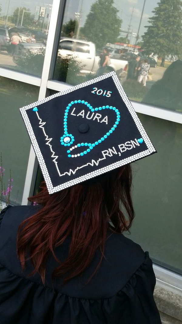 Decorated Nursing Graduation Cap.