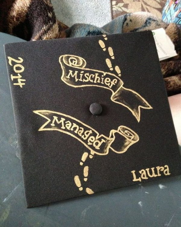 Harry Potter Mischief Managed Graduation Cap.