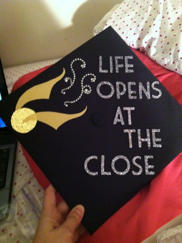 Life opens at the close Harry Potter Graduation Cap.