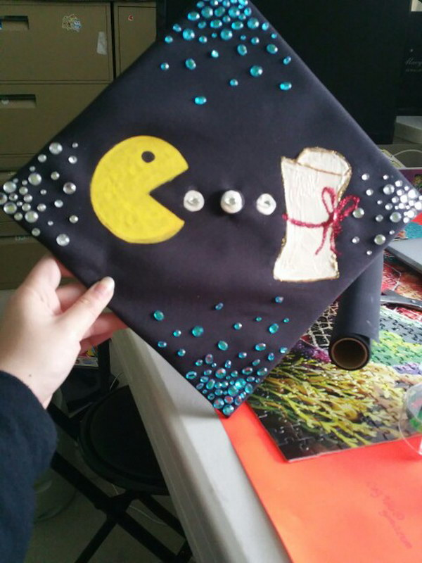 Rhinestoned Ms. Pacman cap.