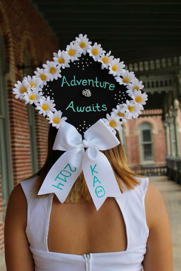 Graduation Cap Decorated with Flowers and a Bow.