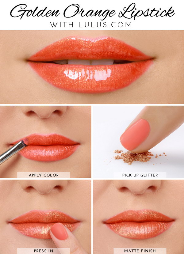 Golden Orange Lip Tutorial.