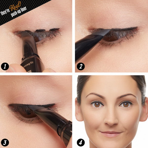 Eyeliner Pen as a Stamp Instead of the Winged Eyeliner.