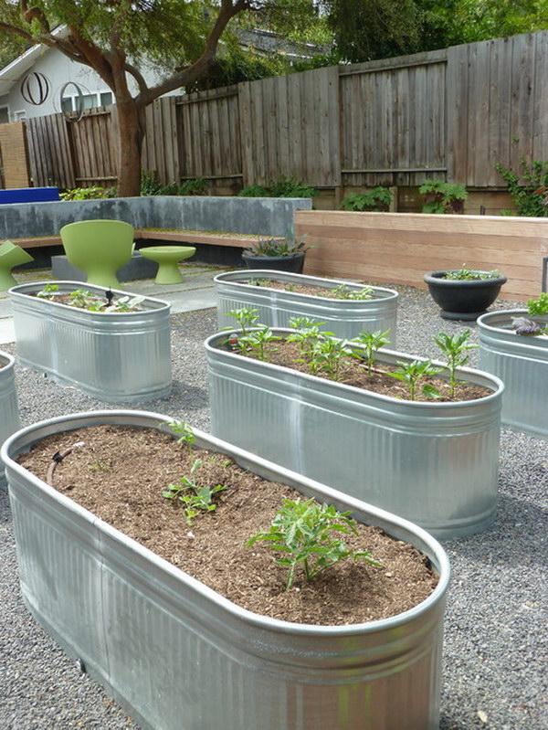 Galvanized Trough Raised Garden Bed.
