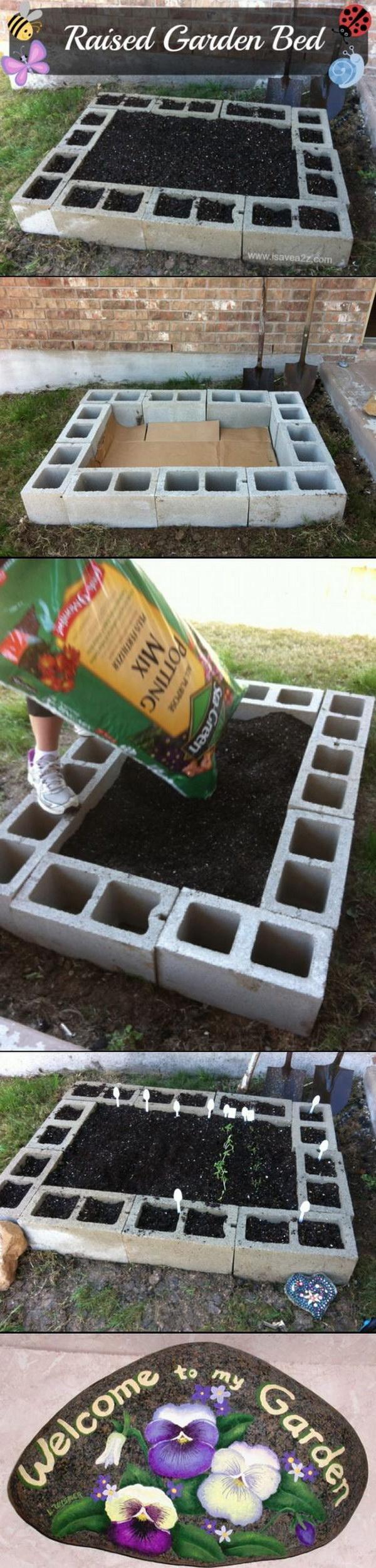 DIY Cinder Block Raised Garden Bed.
