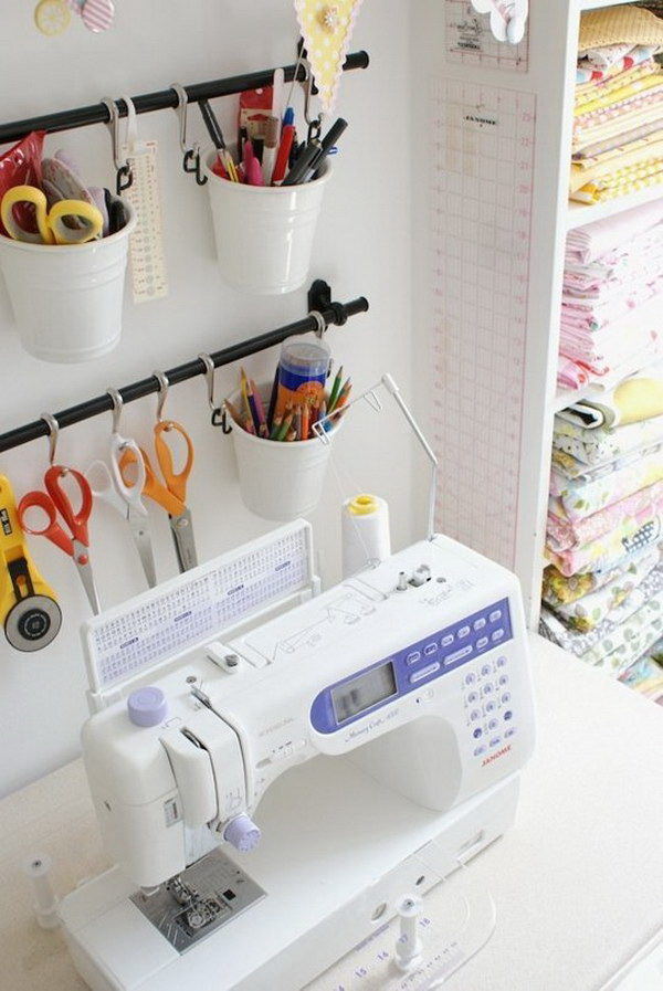 Use IKEA Fintorp to Organize Sewing and Craft Supplies.