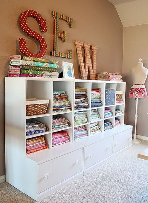 Delightful Ideas For Sewing Room Design Part - 4: Open Front Shelving For Fabric Storage.