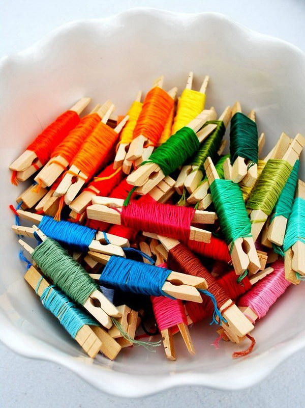 Organized Embroidery Floss with Clothpins.