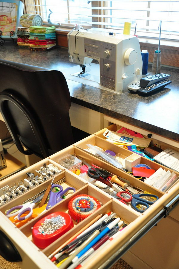 Sewing Room Cabinet Organization.