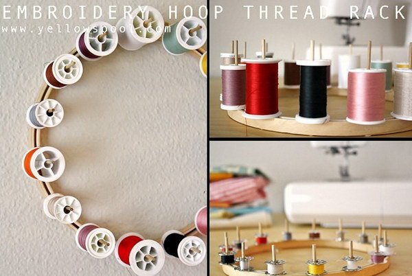 DIY Embroidery Hoop Thread Rack.