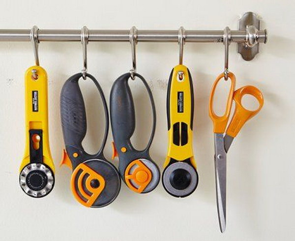 cutting Tools Organization with Hook-filled Rod.