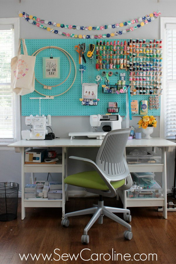 Ideas For Sewing Room Design Part - 24: Pegboard As An Organizer In The Sewing Room