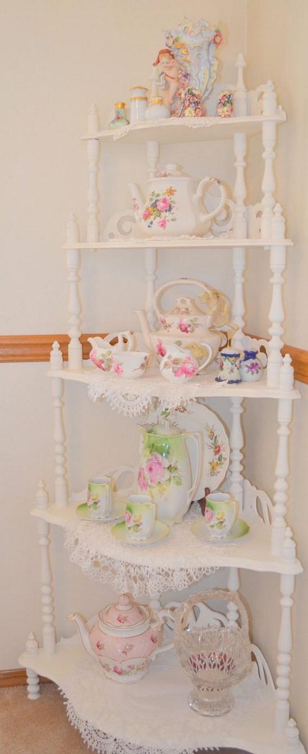 Shabby Chic Corner Shelf Decoration
