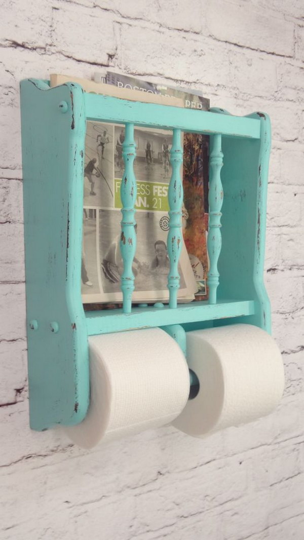 Turquoise Toilet Paper And Magazine Holder