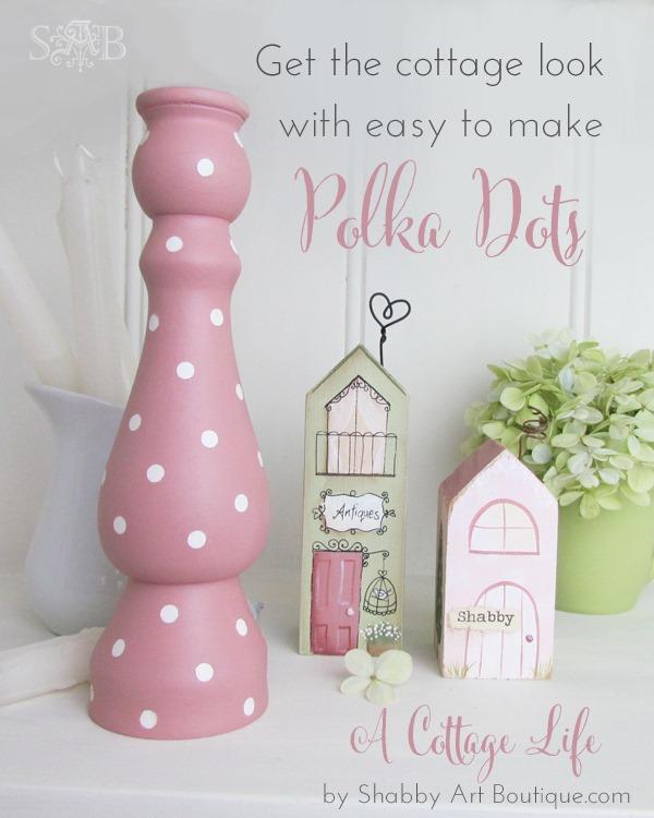 DIY Light Pink Polka Dot Candle Stick