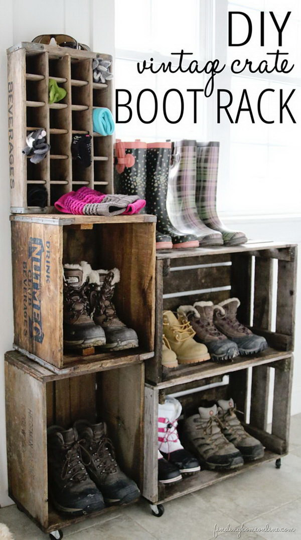 DIY Crate Boot Rack.