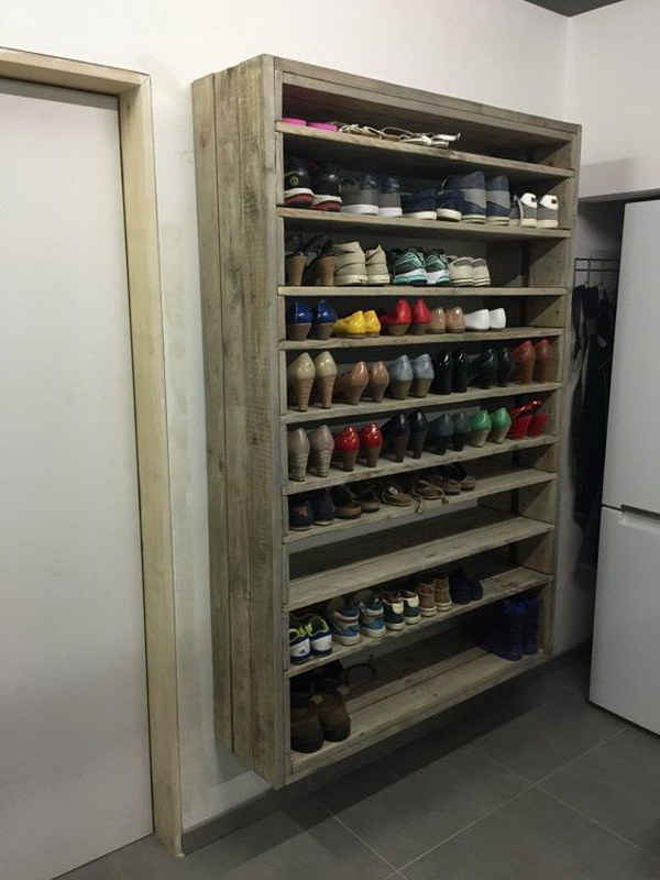 Charming Giant Shoe Rack Made Out Of Discarded Pallets