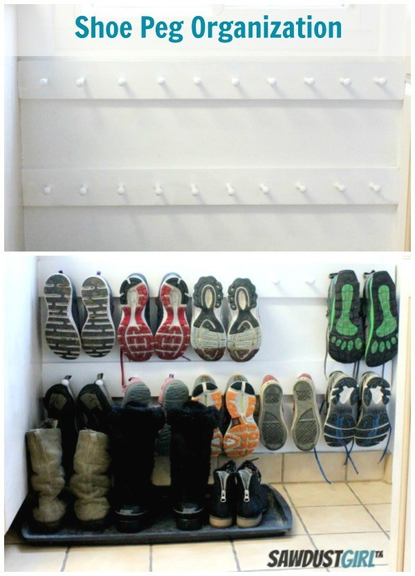 DIY Shoe Peg Boards: Easy Entry Organization with Shoe Pegs.