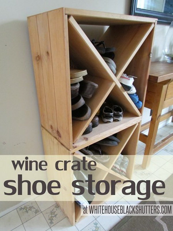 Wine Crate Shoe Storage.