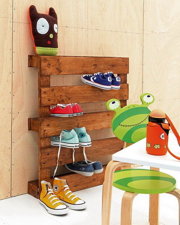 Wooden Pallets for Shoe Storage.