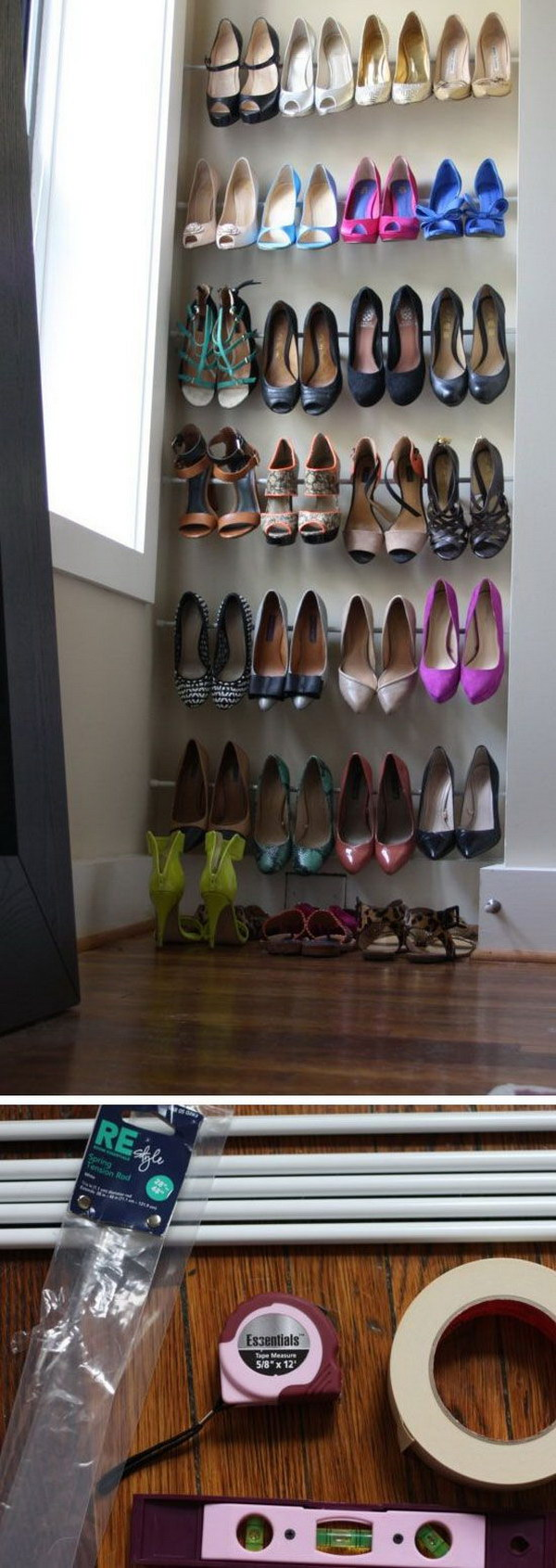 use tension rods for instant heels organization