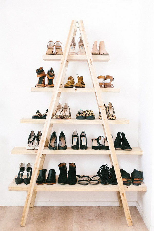 DIY Shoe Ladder Shelves.