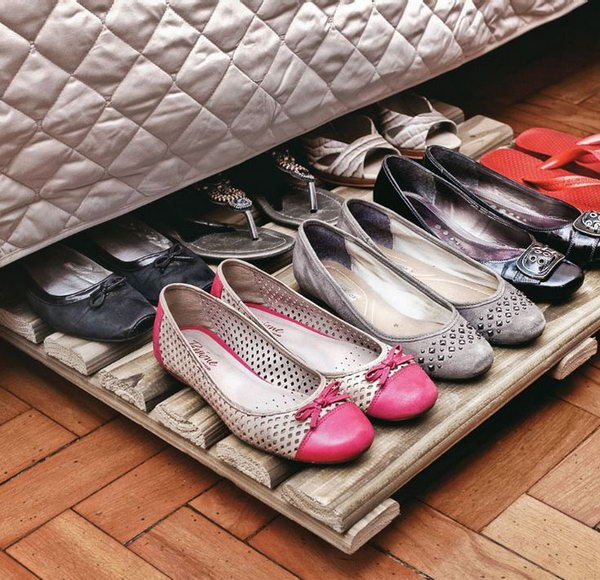Wood Rack Shoe Organizer Under Bed.