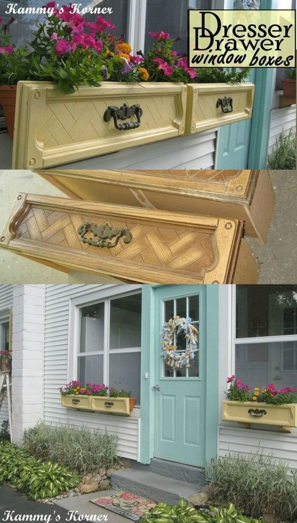 DIY Dresser Drawer Window Boxes.