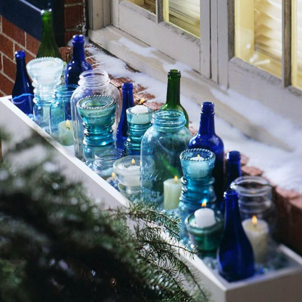 Christmas Indoor Window Box with Votives.