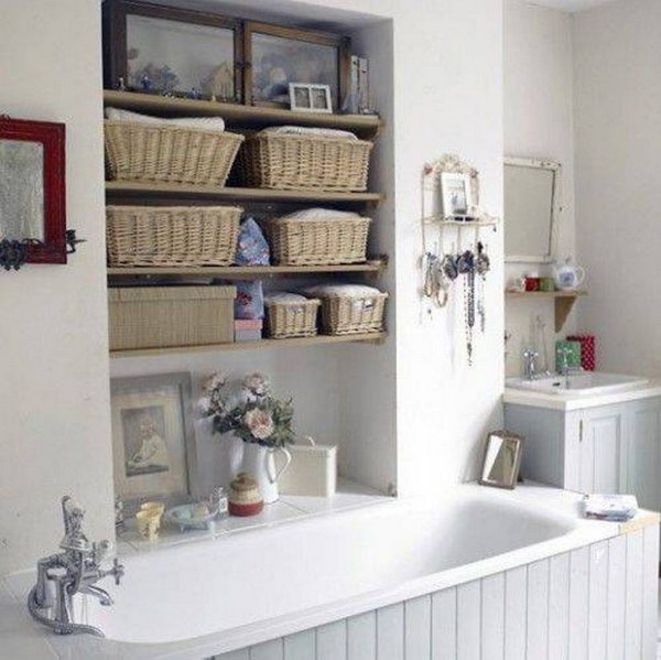 Bathroom Ideas: 20+ Neat And Functional Bathtub Surround Storage Ideas 2017