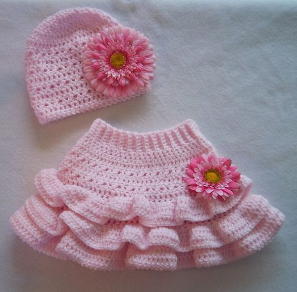 Layer Crocheted Baby Girl Skirt pattern.