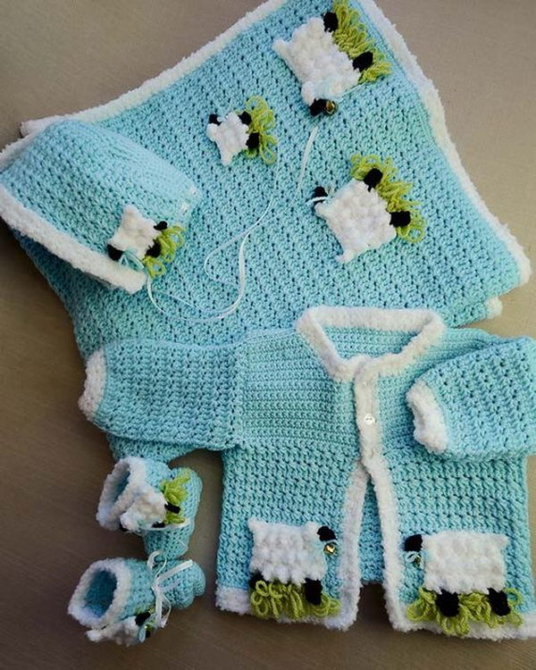 Lambie Pie Layette Crochet Pattern.