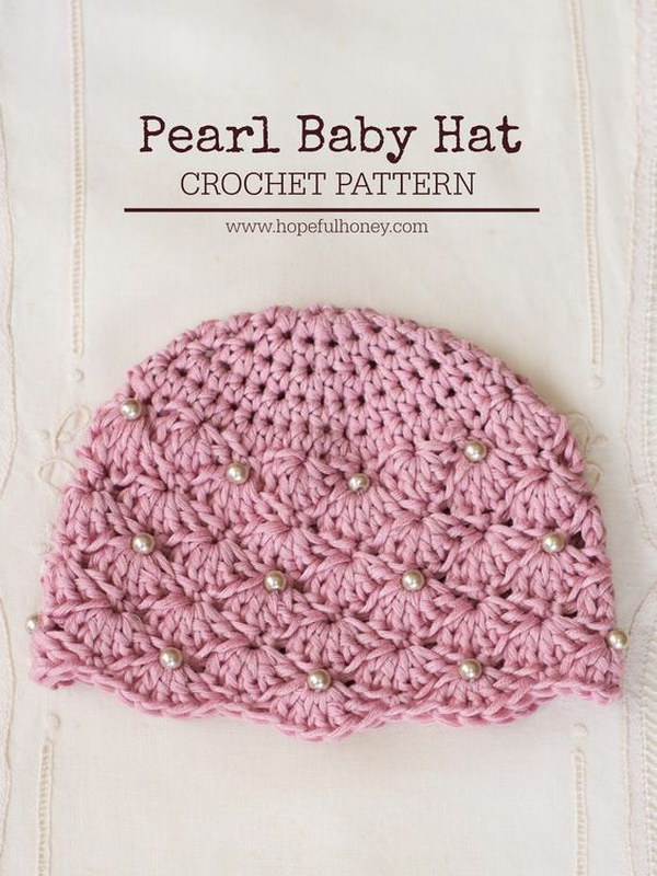 Vintage Style Pearl Baby Hat   Free Crochet Pattern.