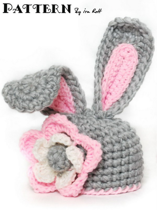 Crochet Bunny Hat With Flower for Little Girl With PDF Pattern for 5 Sizes.