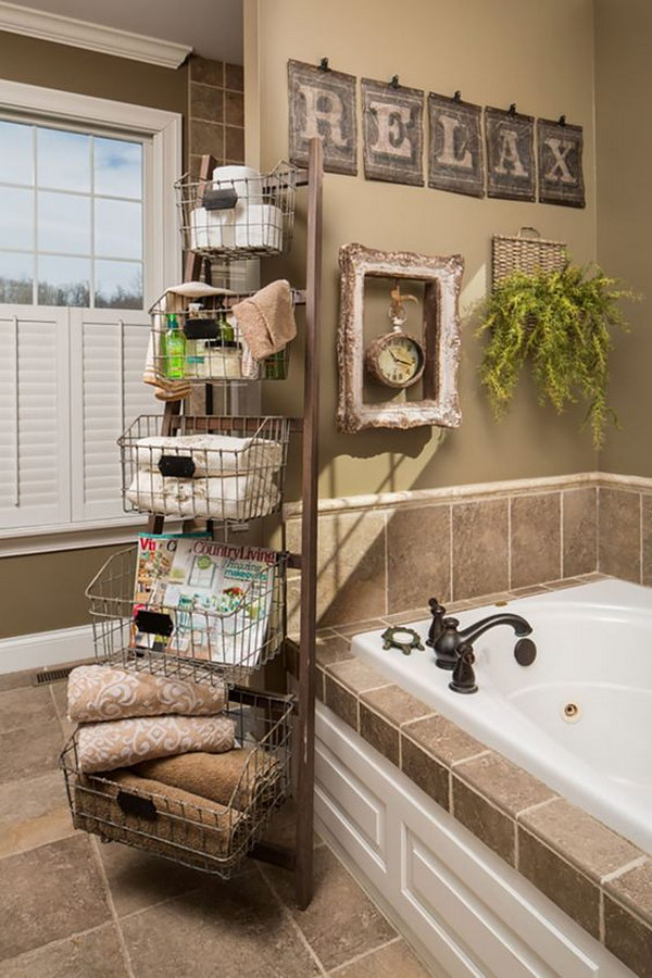 Rustic Ladder with Wire Basket Boxs