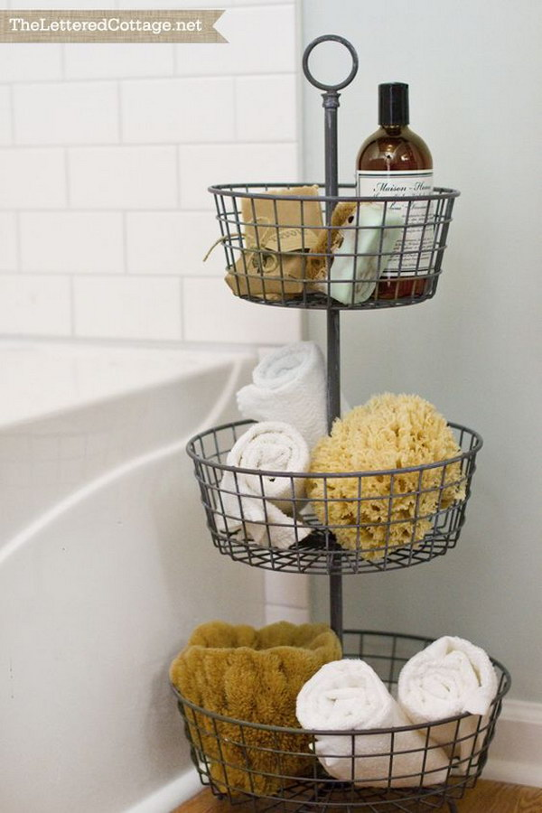Tiered Storage Next To The Tub