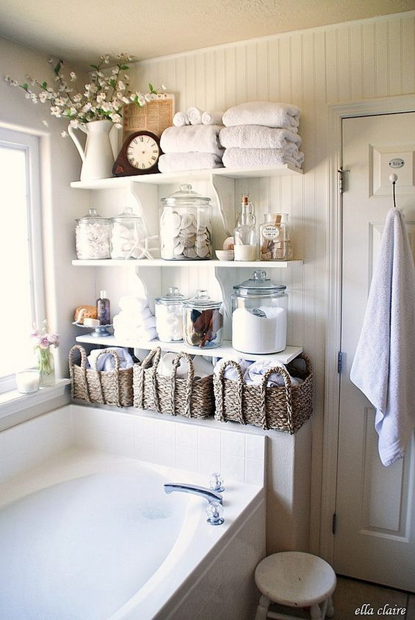 DIY Bathroom Open Shelves