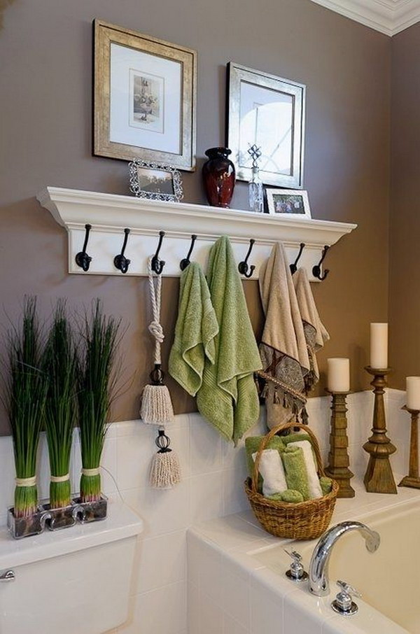 Coat Hooks Instead Of A Towel Rod.