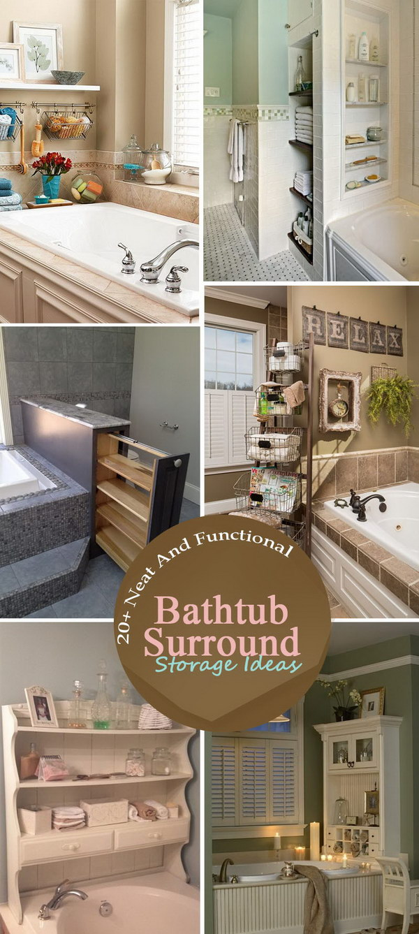 Neat And Functional Bathtub Surround Storage Ideas.