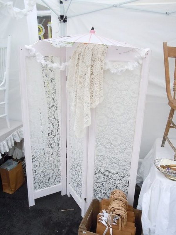 Folding Screen With Lace Room Divider