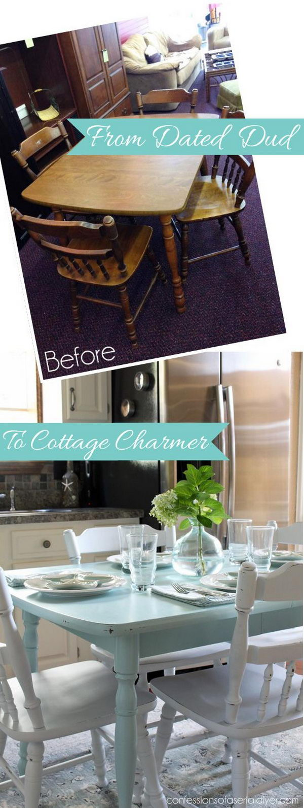 Shabby Chic Makeover: How to Paint a Laminate Kitchen Table.