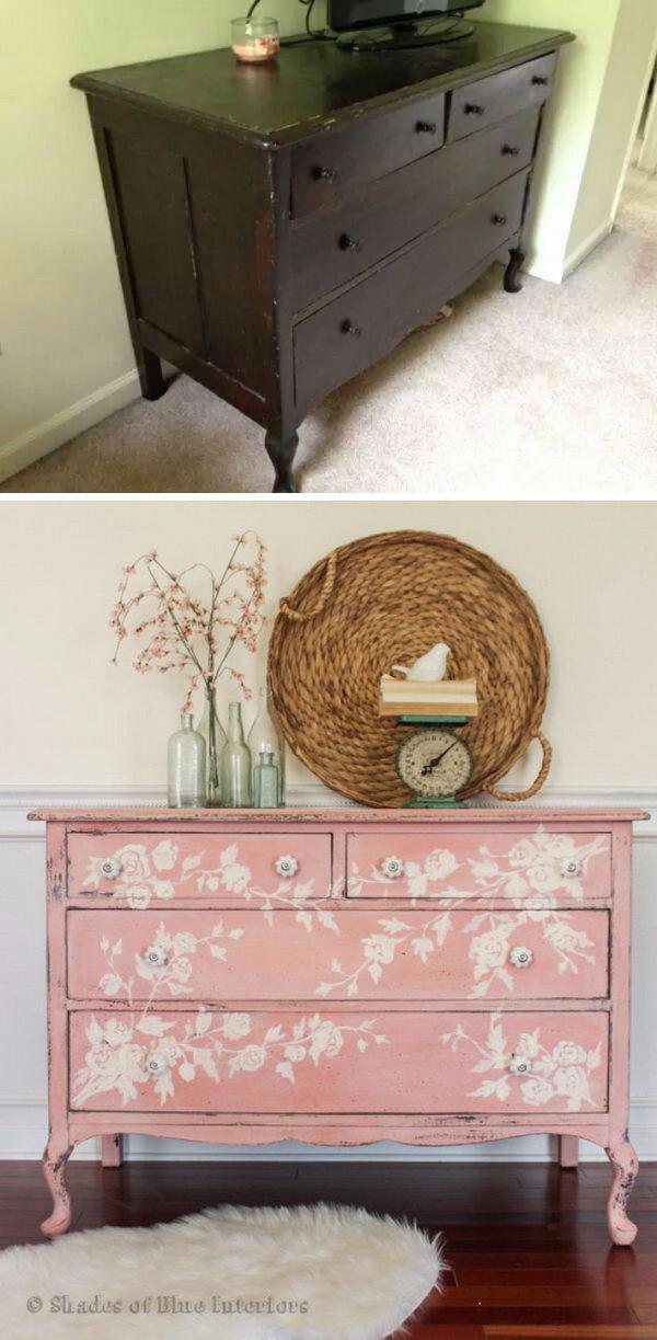 Pink Floral Dresser Makeover.
