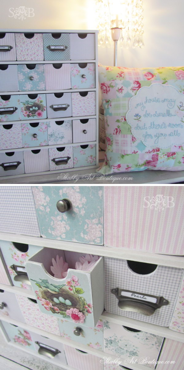 DIY Shabby Chic 25 Drawer Storage Unit