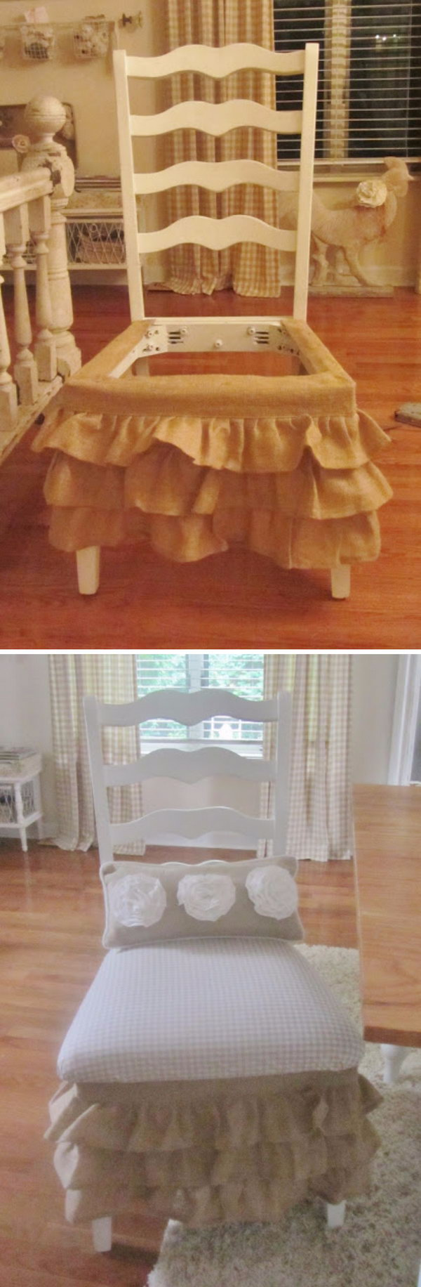 Ruffled Burlap Chair Skirt Made Out Of Valances.